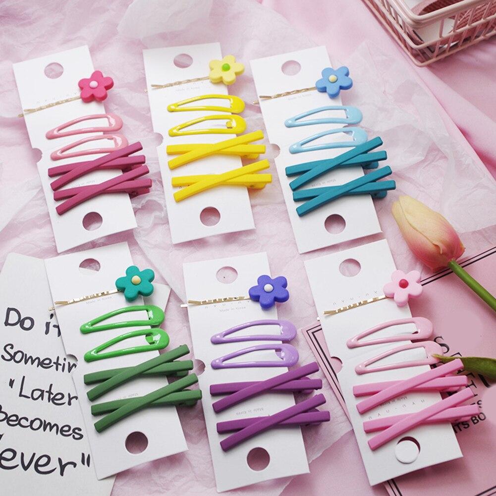 Заколки для волос, 5 шт./компл. шпильки с цветком, заколки для волос ярких цветов, Геометрическая заколка для волос, модная розовая, желтая зак...