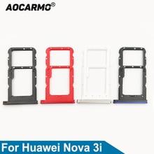 Aocarmo For Huawei Nova 3i SD MicroSD Holder Nano Sim Card Tray Slot Replacement Part