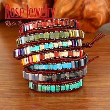 Natural Stone Handmade Multi Color Chakra Bracelet Jewelry Tube Beads Leather Wrap Creative Gifts Couples Bracelets