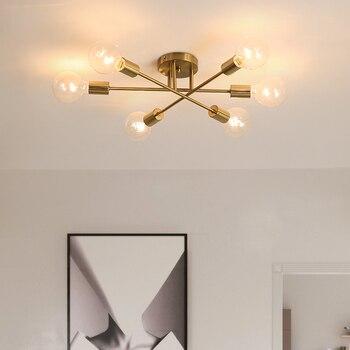 DARHYN Modern chandelier Sputnik lamps semi-embedded ceiling lamp brushed antique gold lighting 6 lights Nordic home decoration - discount item  5% OFF Indoor Lighting