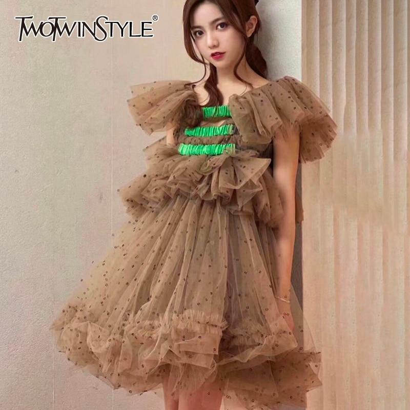 TWOTWINSTYLE Casual Mesh Women Dress Slash Neck Butterfly Short Sleeve High Waist Patchwork Ruffle Hit Color Dot Dresses Female