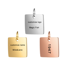Customized Charms for Jewelry Making Gold Stainless Steel Square Pendant Engrave Logo Letter Diy Earring Bracelet Necklace Lots