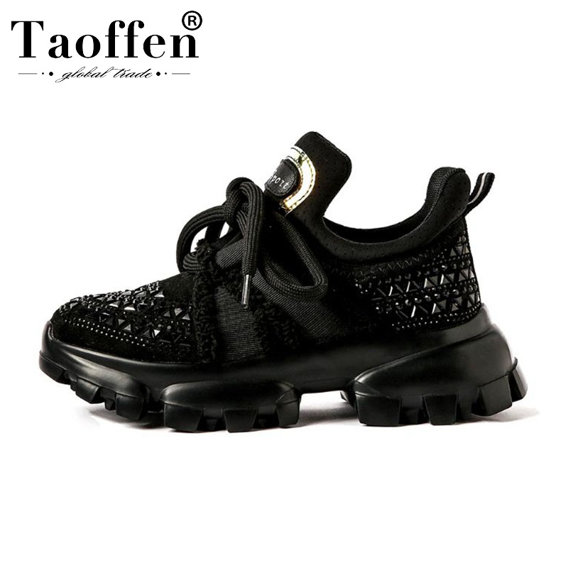 Taoffen Fashion Lady Real Leather Bling Crystal Thick Bottom Sneakers Cross Strap Casual Shoes Woman Footwear Size 35-40