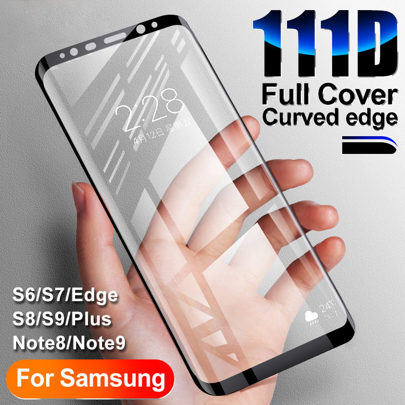 111D Full Curved Protective glass on for Samsung Galaxy S8 S9 S6 S7 edge Plus Screen Protector Tempered Glass on Note 8 9 Film-in Phone Screen Protectors from Cellphones & Telecommunications