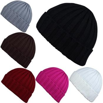 Wool Hat Blue Knit Hat Pointy Hat Girl Boy Accessories Rolled Edge Purple College Girl Solid Color Cold Protection