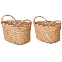 2 sztuk wiklinowy tkactwo kosz przechowywania do kuchni wykonane ręcznie na owoce danie Rattan jedzenie na piknik chleb bochenek rozmaitości Neatening pojemnik C