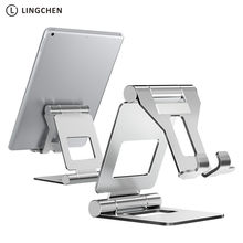 Подставка для планшета LINGCHEN, регулируемый складной держатель для планшета для iPad 7,9 9,7, настольная подставка из алюминиевого сплава для iPad ...