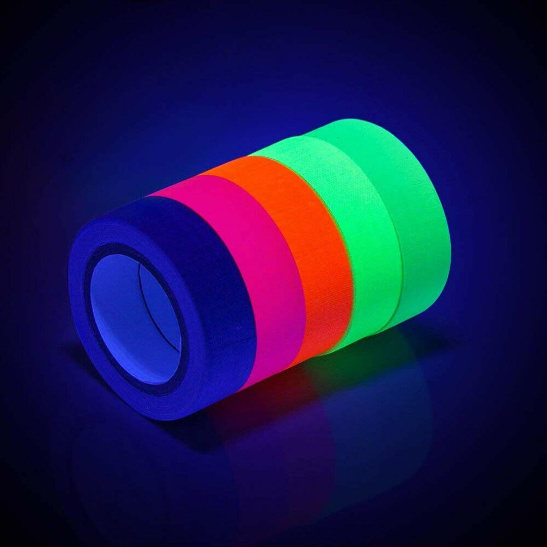 6 rollos de cinta de algodón fluorescente UV para decoración de fiesta en casa luz negra brillo reactivo en la oscuridad cinta de tela de neón Deli, rodillo de cinta correctora para corrección Kawaii de gran capacidad, 30 M, suministros escolares multifuncionales, seguro para oficina de Estudiante