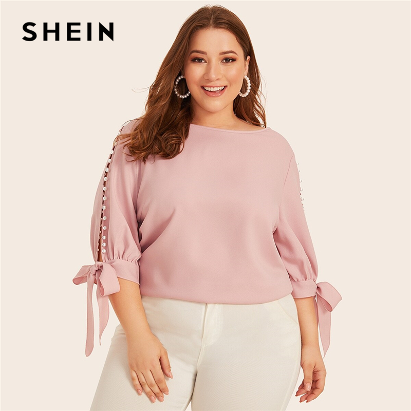 SHEIN Plus Size Pink Pearl Beaded Knot Cuff Top Women Elegant Blouse Autumn Office Lady Solid Womens Tops And Blouses