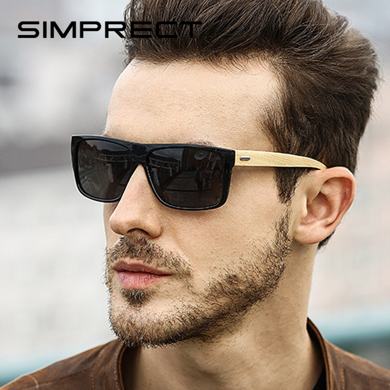 SIMPRECT Polarized Sunglasses Men 2020 UV400 Wood Sunglasses Retro Square Sunglasses Vintage Driver's Sun Glasses For Men Oculos