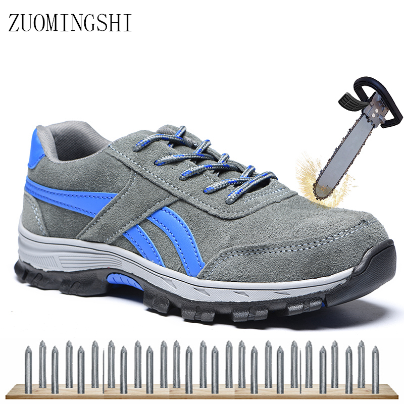 Leather Men Work Safety Shoes Steel Toe Security Shoes Protective Footwear Fashion Causal Work Safety Boots Men Work Shoes