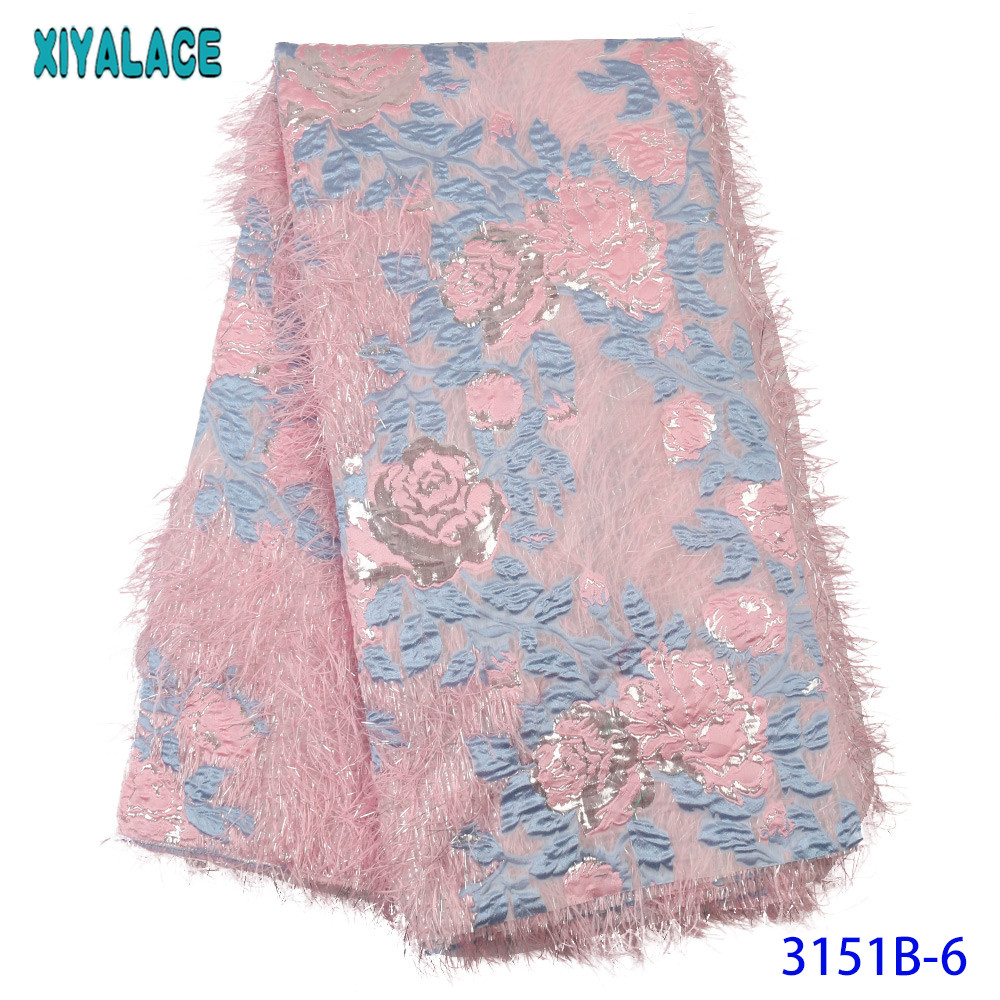 African Lace Fabric 2019 High Quality Lace Brocade Fabric Laces New Laces With Feather Flower Pattern For Patry KS3151B
