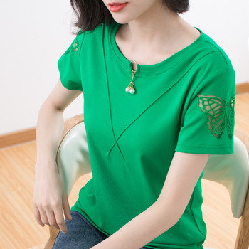цена на Beaded Bow Women Lace Hollow Out T Shirts Fashion Short Sleeve Embroidery Cotton Loose Tee Shirt Summer Casual O-Neck Top