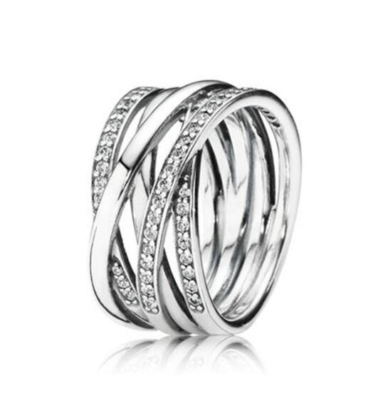 Crystal Rings Fashion Jewelry Wedding-Party-Gift Eternity Women Original Silver for Openwork title=