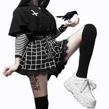 Harajuku Shorts Women Lace Trim Large Elastic Waist Plaid Shorts Gothic Girl Loose Streatwear Shorts Summer Hipster Dark Fashion