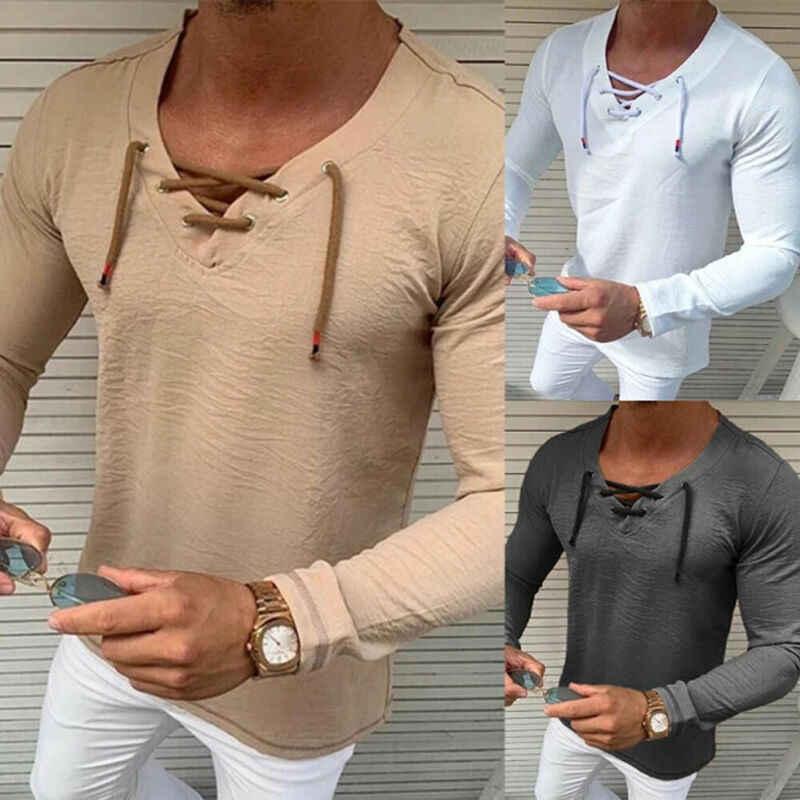Moda erkek Slim Fit V boyun uzun kollu kas T-shirt Casual Tops katı ince dantel Up ön Tee gömlek