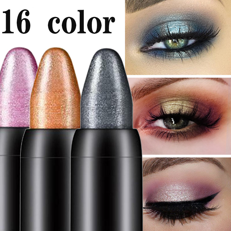 Gel-Pen Eyeshadow Shiny 16-Color Waterproof Not-Blooming Silkworm And Pen-Lasting Pearlescent