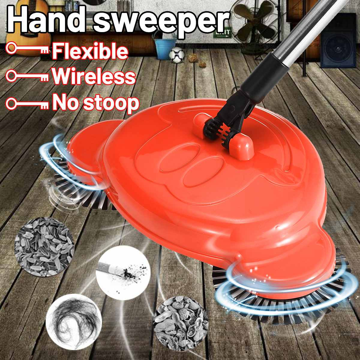 Stainless Steel Hand Sweeper Push Type Sweeping Machine Without Electricity Dry Wet Use Lazy Household Vacuum Cleaner