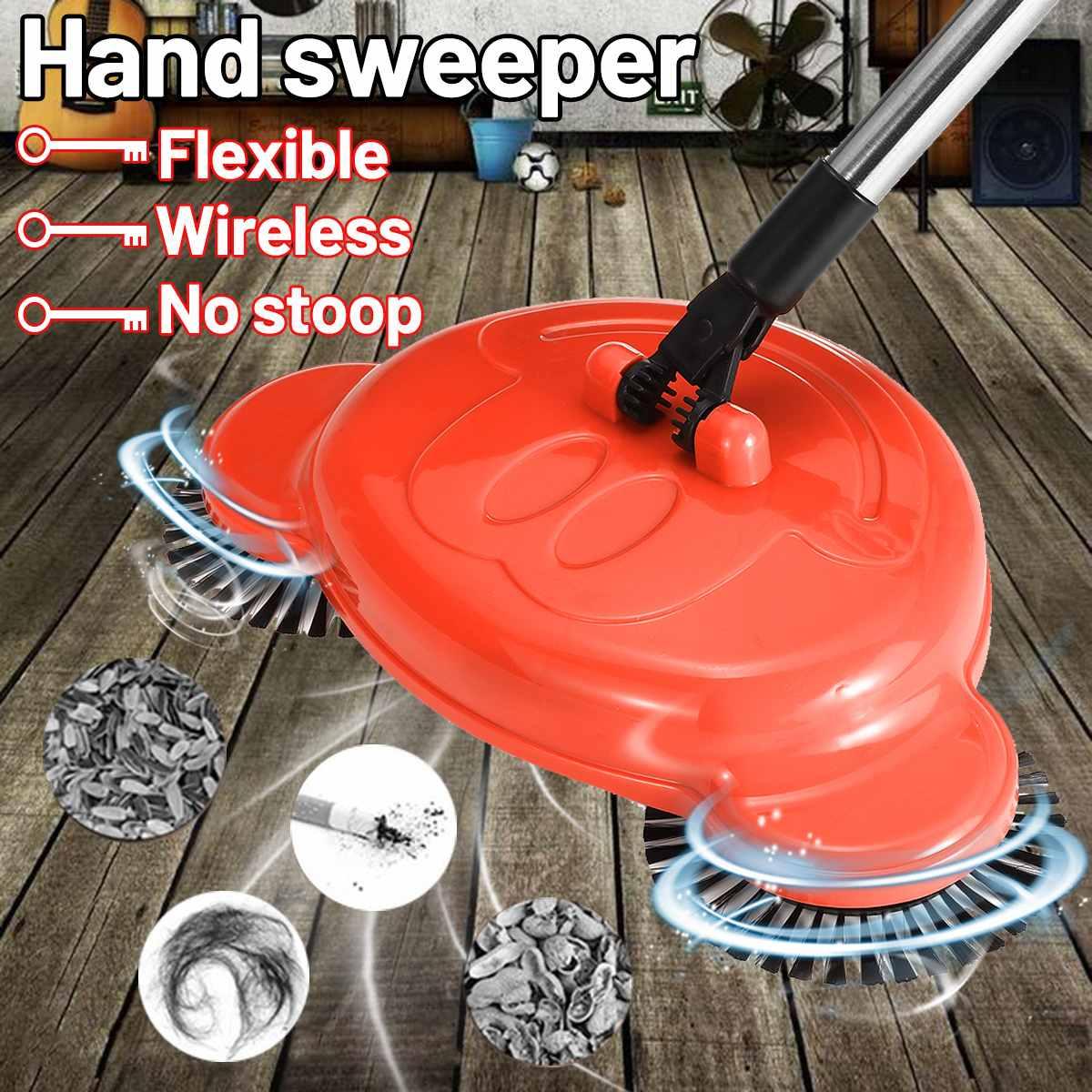 Ручная уборочная машина из нержавеющей стали, подметающая машина с нажимом, без электричества, для сухой и влажной уборки, для ленивых