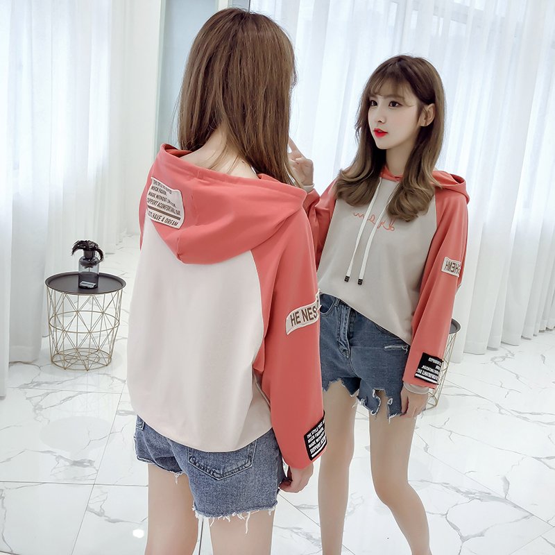 Hooded pullover girls autumn clothes Korean version of loose casual 2019 new student letter print women's sweatshirt 36