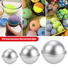Moldes de bombas de baño redondos de aleación de aluminio, 2 uds., herramienta artesanal, bomba de baño, Bola de sal, regalos caseros, molde de esfera semicircular