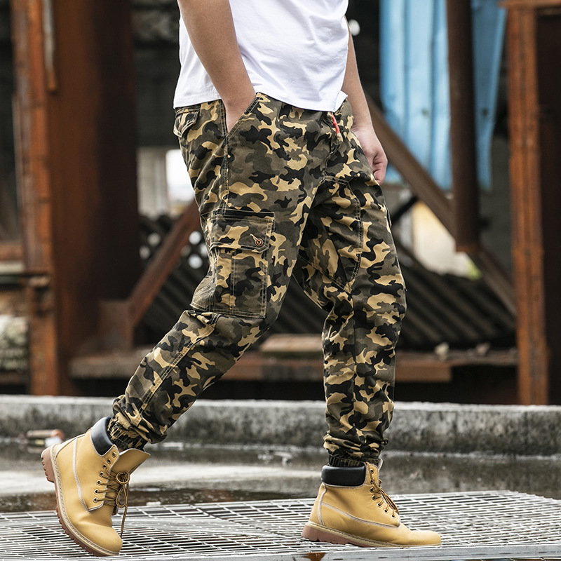 Camouflage Pants MEN'S Overalls Loose And Plus-sized Beam Leg Popular Brand Plus-sized Elastic Waist Fat Casual Uniform Pants