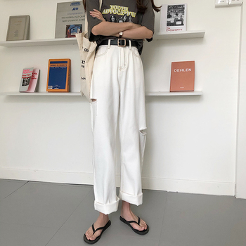 Jeans women  S-XL summer korean ins style loose white long denim pants high waist straight hole jeans for womens