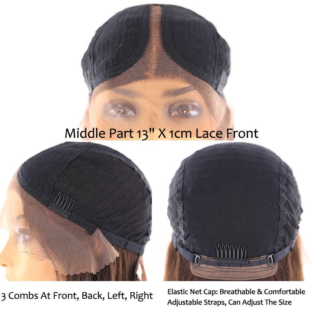 Medium Bruine Kleur Synthetische Lace Front Pruik Voor Vrouwen X-TRESS Lange Yaki Steil Haar Pruiken Met Natuurlijke Haarlijn Middelste Deel
