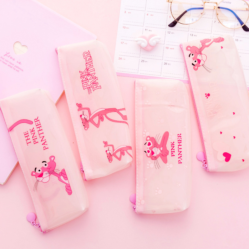 Cute Pink Panther School Pencil Case Kawaii Unicorn Pencil Box Transparent Silicone Pencil Bags For Kids Gift Korean Stationery