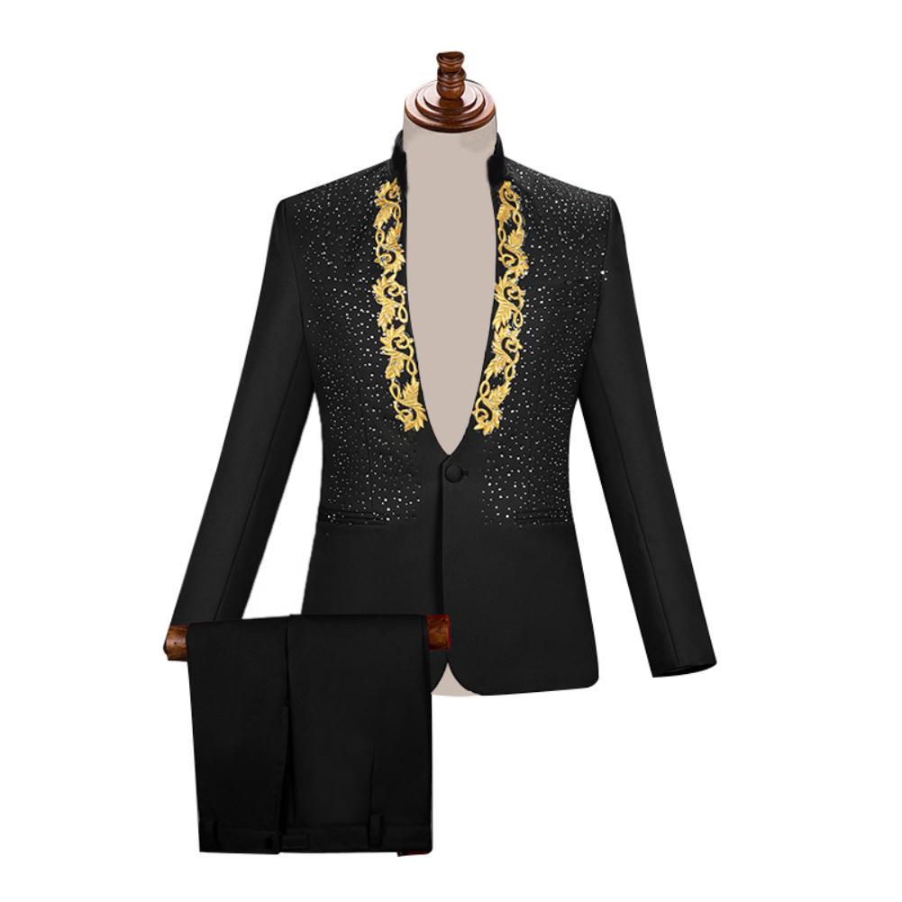 Men Singer Stage Show Host Ceremonies Wedding Blazer Pants Two-piece Chaqueta Hombre Traje Set Suit New блейзер