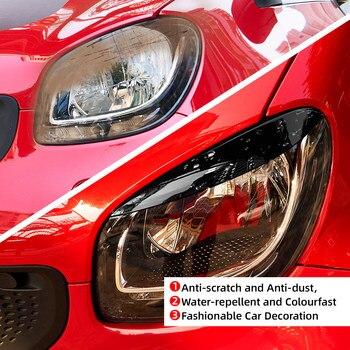 2pcs รถคิ้วสำหรับสมาร์ท Fortwo Forfour 453 2015-2019 ไฟหน้าตาสติกเกอร์ไฟหน้าฝาครอบสติกเกอร์ Trim รถจัดแต่งทรงผม