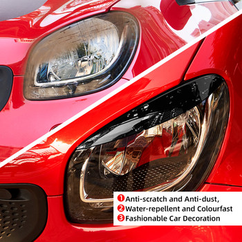 2pcs Car Eyebrow For Smart Fortwo Forfour 453 2015-2019 Headlight Eyelid Sticker Headlamp Cover Trim Sticker Car Styling