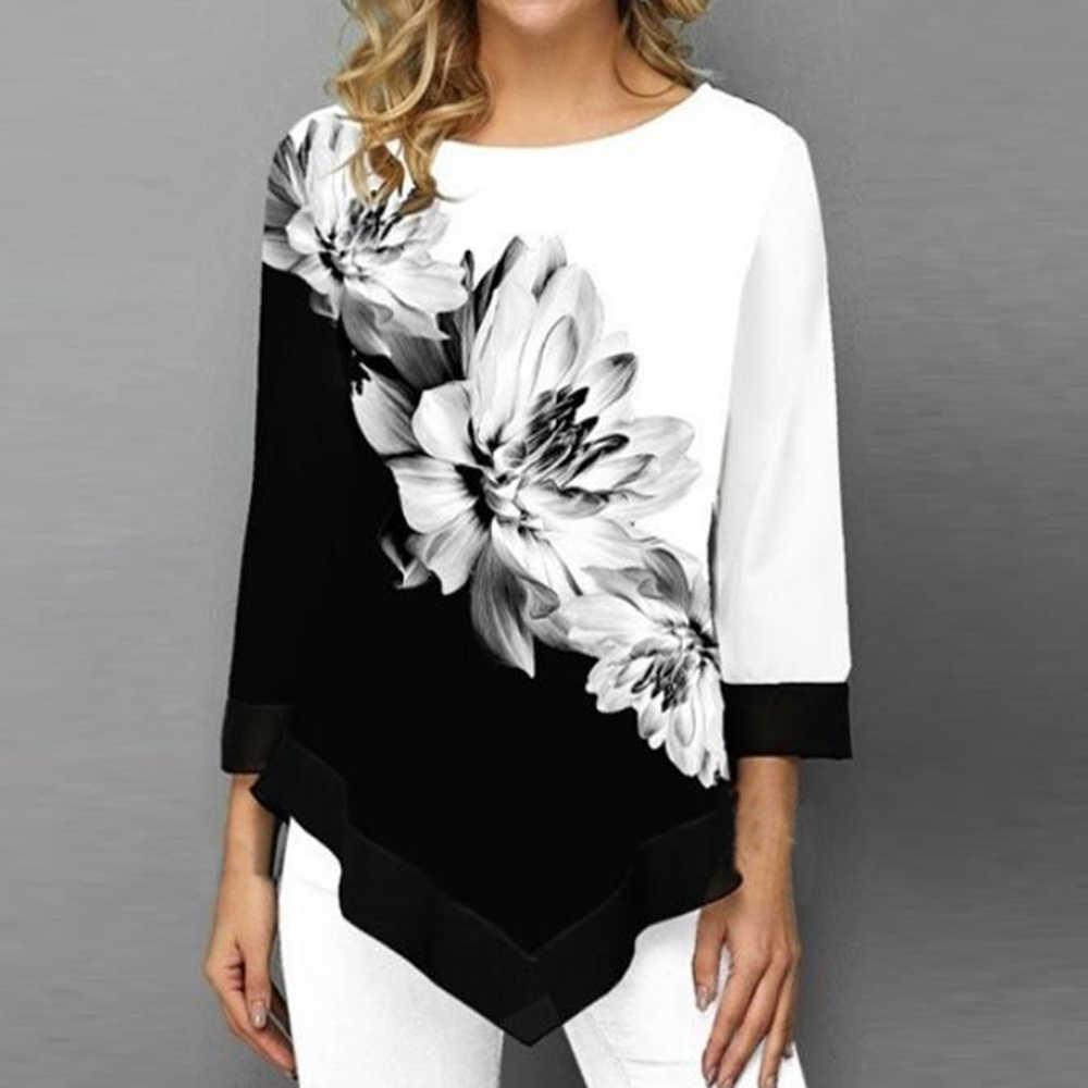 2019 ฤดูใบไม้ผลิเสื้อฤดูใบไม้ร่วงผู้หญิงเสื้อ T ลำลอง O-Neck พิมพ์ดอกไม้เสื้อ T หญิงเสื้อ T PLUS ขนาด 5XL Pullovers tops Tees