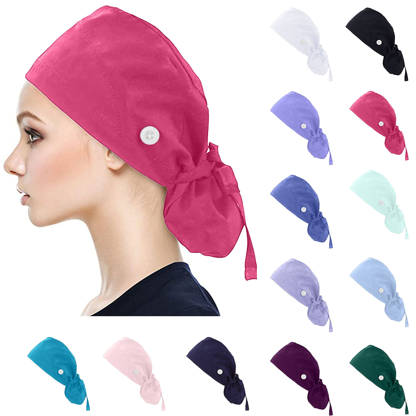 Unisex Nurse Hats For Women Cotton Hat Solid Color Scrubs Cap Nurse Accessories Button Bouffant Hat Sweatband Gorro Enfermera L*