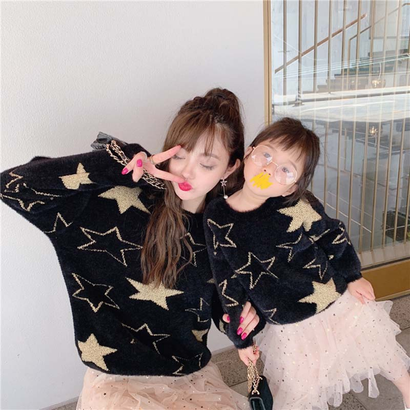 Winter Autumn Family Outfits Look Star Printing Sweaters Family Matching Clothes Mother Daughter Son Baby Boy Girls Warm Sweater
