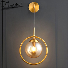 Nordic Iron Glass LED Wall Lamps Indoor Decor Sconces Bedroom  Kitchen Fixtures Bedside Living Room Hotel Aisle Wall Light