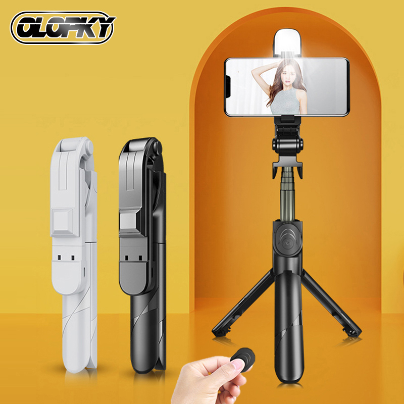 OLOPKY Wireless Bluetooth Selfie Stick Foldable Mini Tripod For Phone With Fill Light Shutter Remote Control For IOS Android