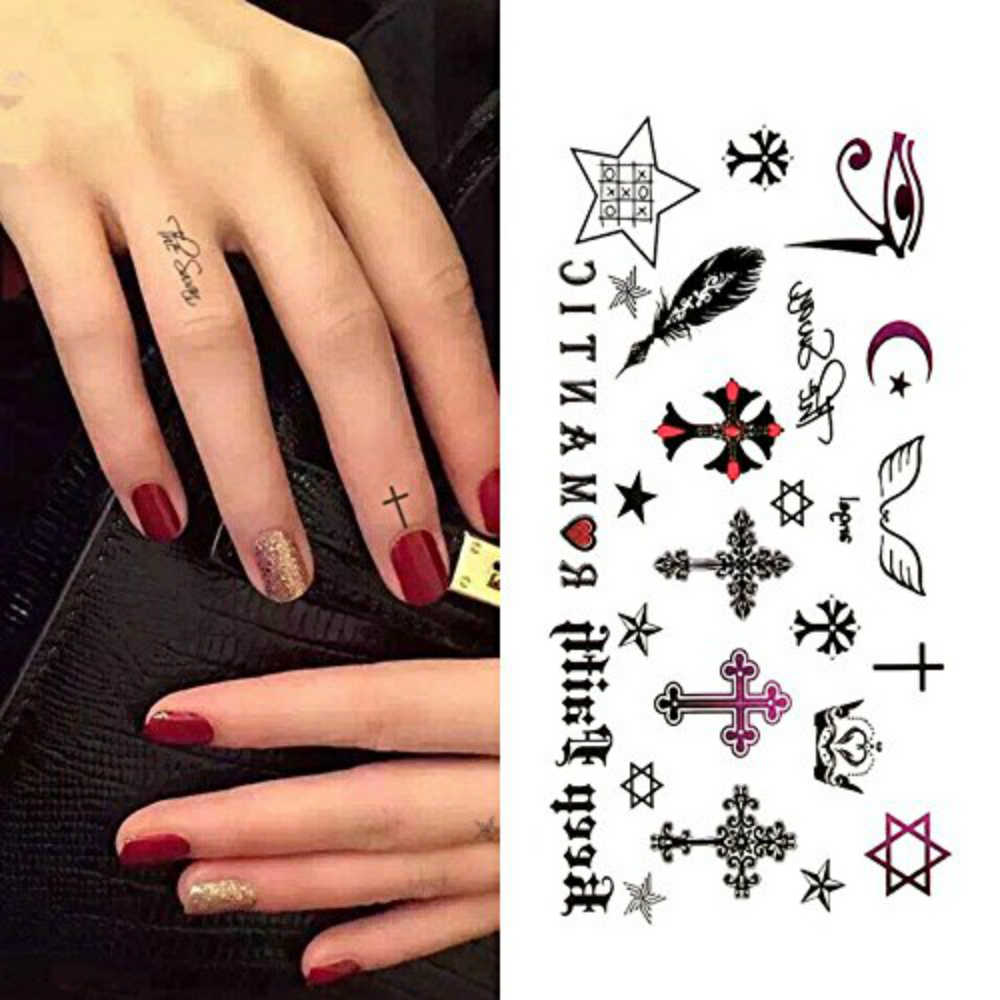 Waterproof Small Cute Temporary Tattoos Stickers Cross Gothic Wing English Feather Fake Tatto Flash Tatoo Finger Art Hand Girl