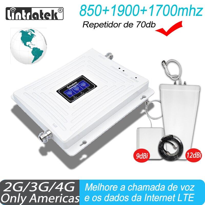 Signal Repeater Lintratek 850 1900 1700 2G 3G 4G GSM Signal Amplifier 850 CDMA 2100 PCS 1700 AWS Booster Cellphone Amplifier