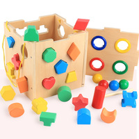 Wood Mother Baby Shape Matching 20 Hole Intelligence Box Large Particles Children Enlightenment Building Blocks Toy Supply