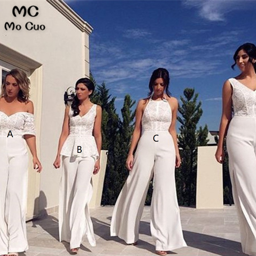 Elegant White Jumpsuit Bridesmaid Dresses Long With ABC Lace Wedding Party Dress Sleeveless Chiffon Bridesmaid Dress