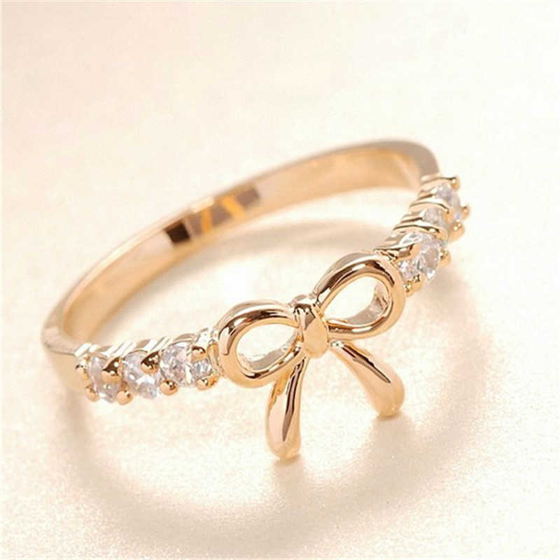 2019 Rose Gold Crystal Rings For Women Jewelry Cute Bow Ring Women Fashion Wedding Ring Ladies Engagement Rings For Female Gifts