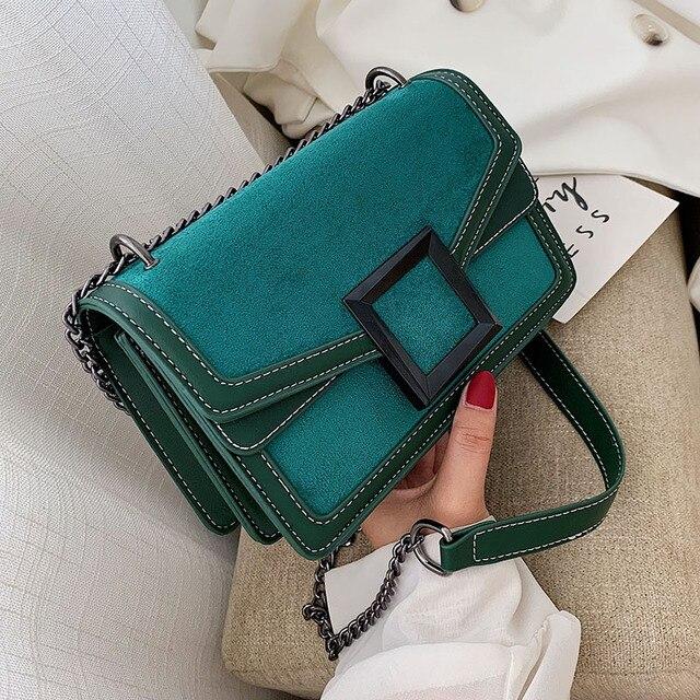 Scrub couro corrente crossbody sacos para as mulheres 2020 inverno ombro simples bolsa de viagem feminina bolsas de telefone celular