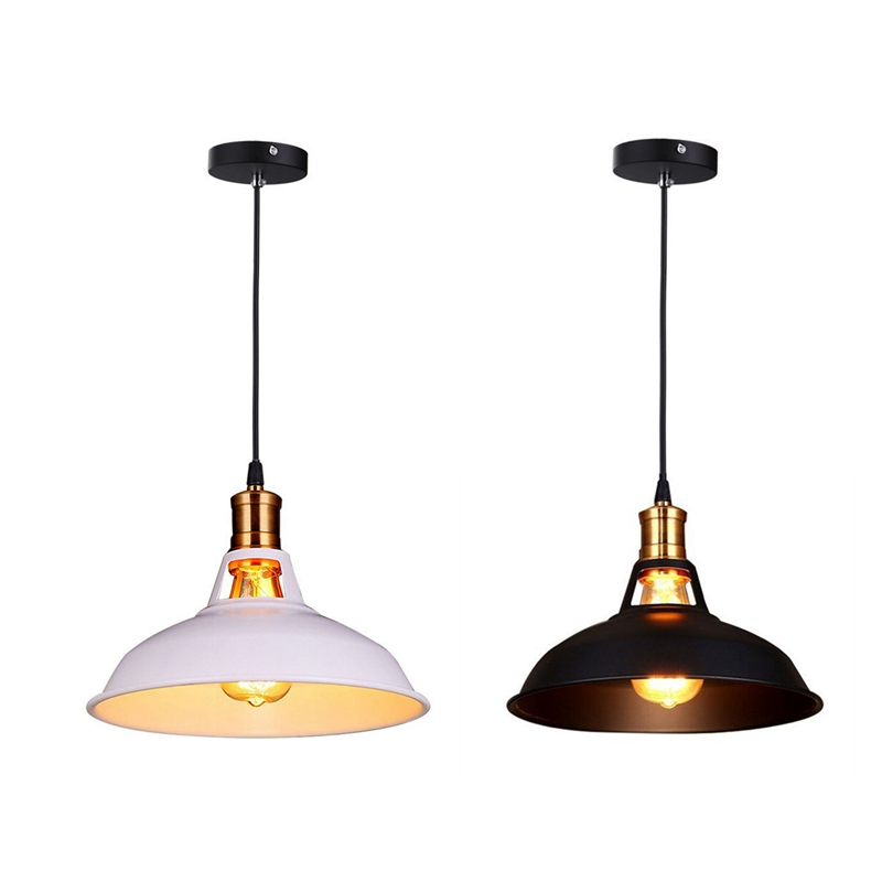 2Pcs Retro Industrial Edison Simplicity Chandelier Vintage Ceiling Lamp With Metal Shiny Nordic Style Shade (White & Black)