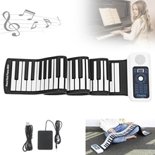 88 Keys USB MIDI Roll Up Piano Electronic Portable Silicone Flexible Keyboard Organ Built-in Speaker with Sustain Pedal недорого
