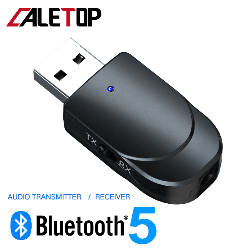 Bluetooth 5.0 Receiver Transmitter Adapter 2 In 1 Bluetooth Wireless Adapter 3.5mm AUX Jack Audio For TV For Car Kit For Speaker
