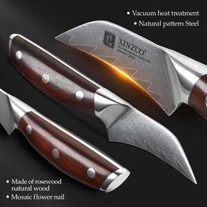 "Image 4 - XINZUO 3"" inch Paring Knife Japanese Damascus Steel VG 10 Ergonomic Mosaic Rivet Rosewood Handle Fruit Peeling Kitchen Knife"