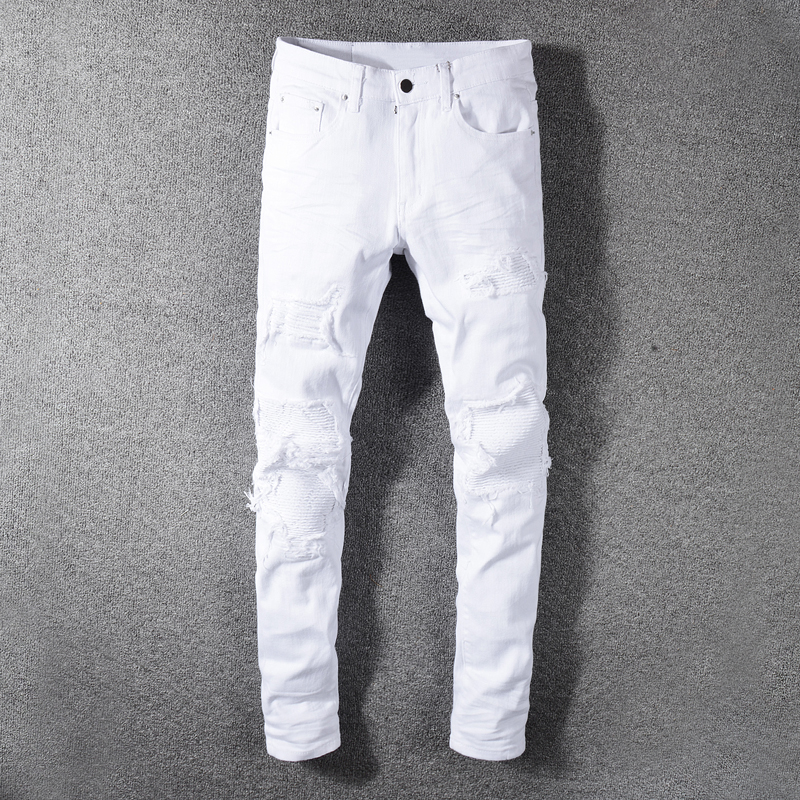 American Streetwear Fashion Men Jeans Solid White Color Destroyed Ripped Jeans Men Elastic Punk Pants Patchwork Hip Hop Jeans