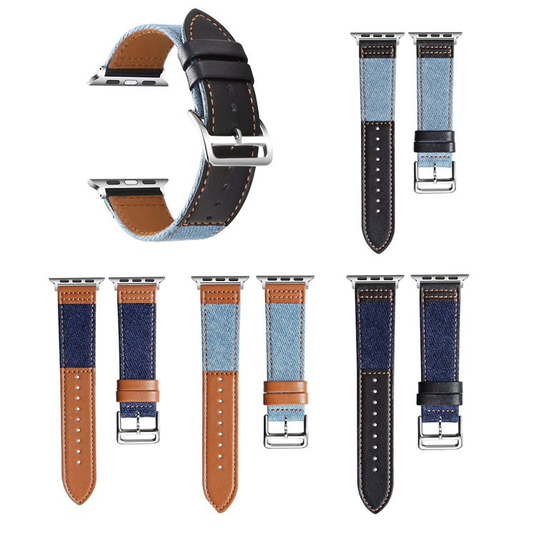Suitable For APPLE Watch 1234 Generation Apple Watch Strap Canvas Genuine Leather Double Color Watch Strap