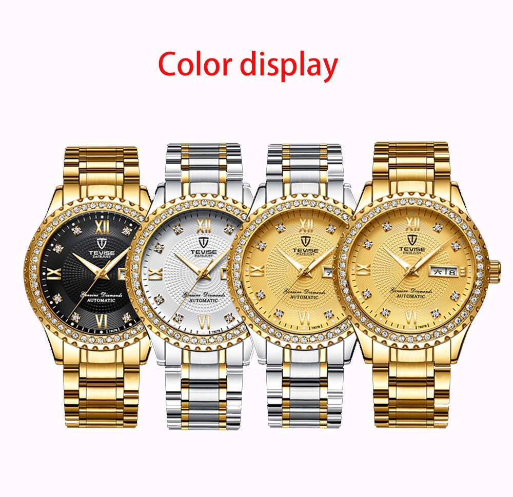 TEVISE Top Brand Luxury Steel Band Automatic Mechanical Men Watches Fashion Casual Waterproof Calendar Luminous Clock Relogio